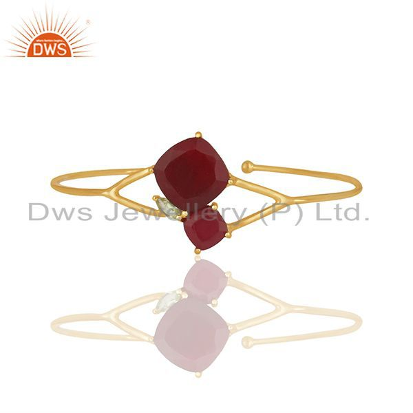 Designer Multi Gemstone Gold plated 925 Silver Cuff Bracelet Wholesale