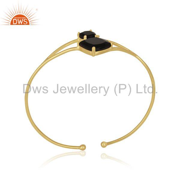 Black Onyx Gemstone Handmade 14k Gold Plated 925 Silver Cuff Bracelet Wholesale