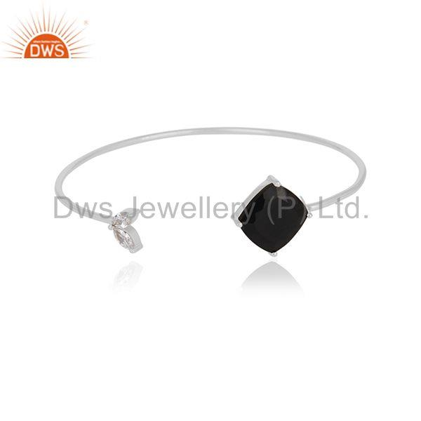 White Zircon and Black Onyx Gemstone 925 Silver Cuff Bracelet Wholesale