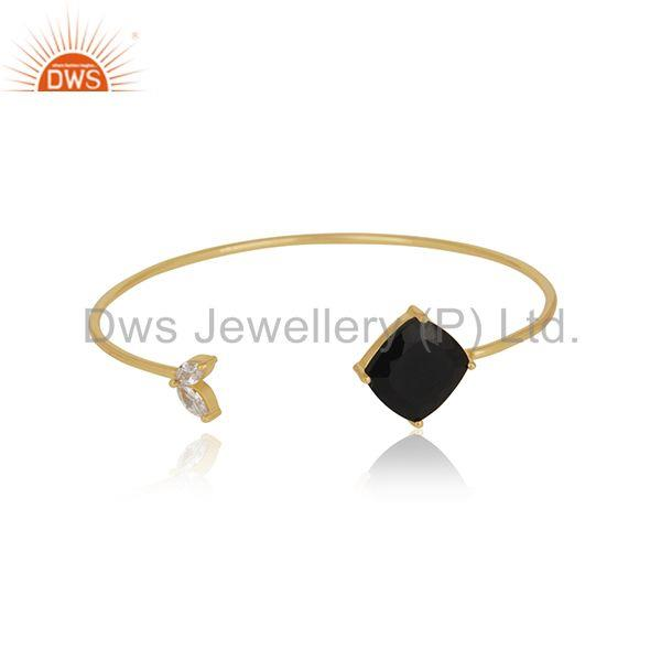 18k Gold Plated 925 Sterling Silver Black Onyx Gemstone Cuff Bracelet Wholesale