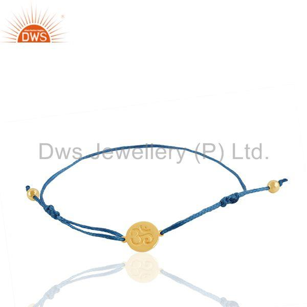 Om ohm engraved 925 silver gold plated religious bracelet manufacturer