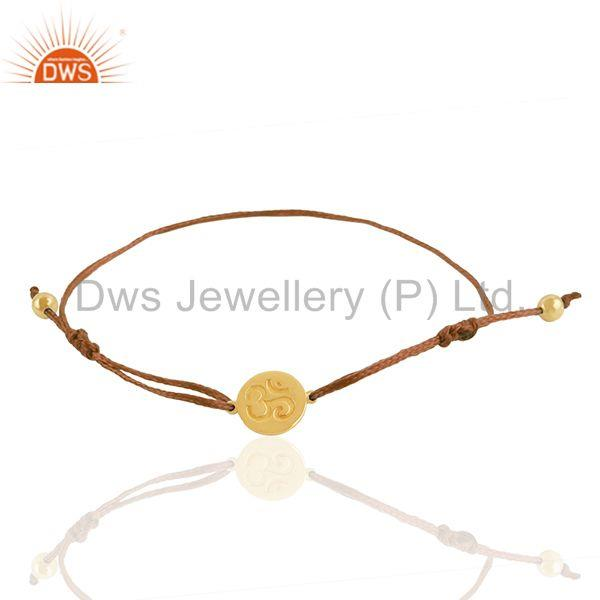 18k Gold Plated 925 Silver Om Religious Adjustable Bracelet Wholesale