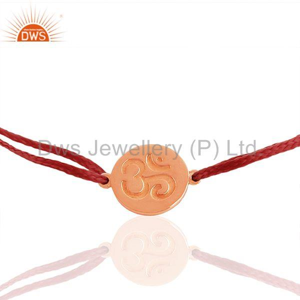 Handmade Engraved Om Charm Red Thread Adjustable Bracelet Wholesale