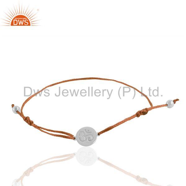 White Rhodium Plated Om Engraved Charm Bracelet Jewelry Manufacturers