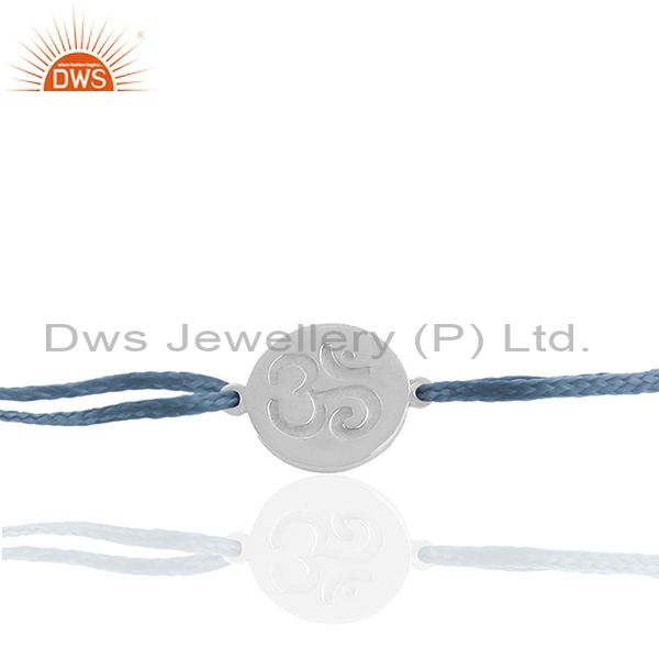 Om Charm Plain 925 Silver Sky Blue Thread Adjustable Bracelet Supplier