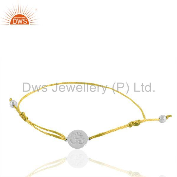 Adjustable Yellow Thread White 925 Sterling Silver Bracelet Wholesale