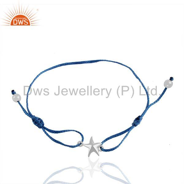 White 925 Silver Star Charm Blue Macrame Adjustable Bracelet Jewelry