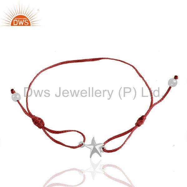 Handmade red thread adjustable star charm 925 silver bracelet supplier