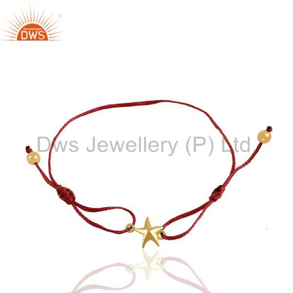 Solid 925 Silver Gold Plated Star Charm Macrame Bracelet Manufacturers