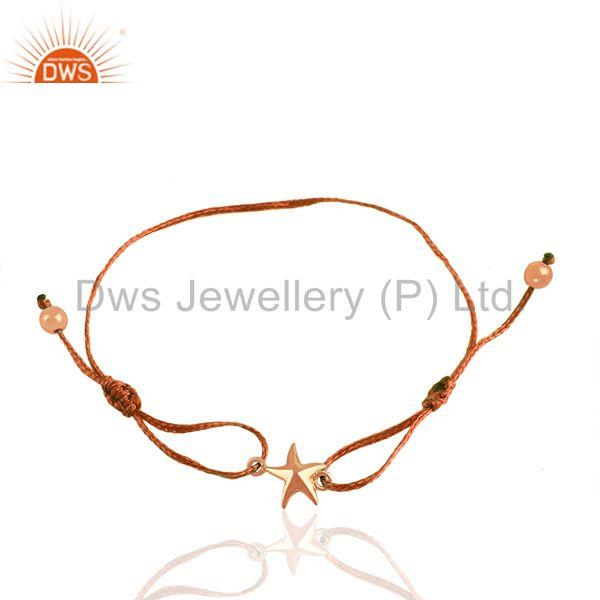 14k rose gold plated silver luck star charm unisex bracelet supplier