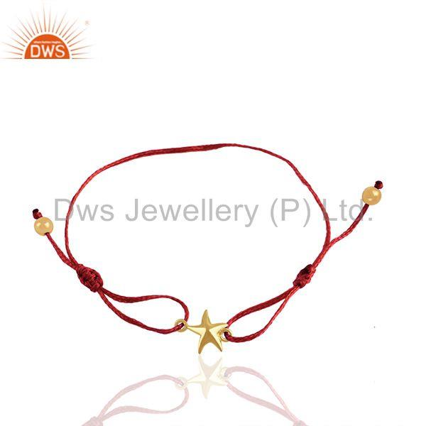 Handmade star charm gold plated silver thread bracelet manufacturer
