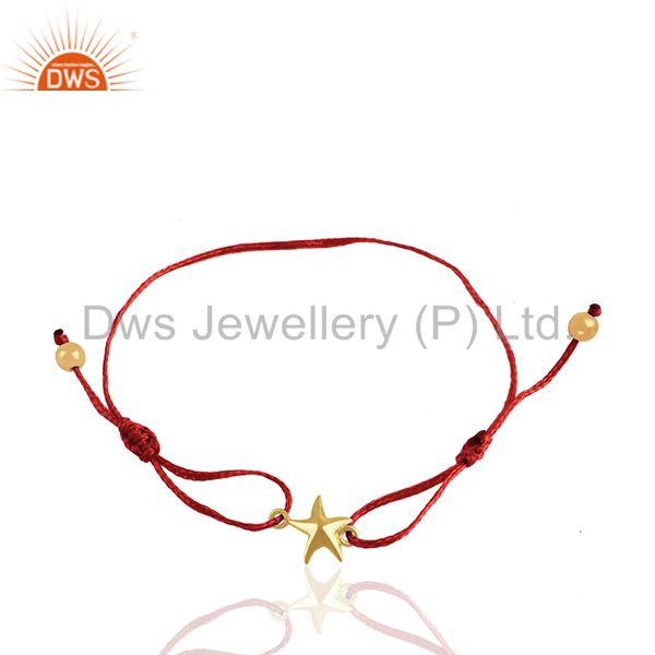 Red Cotton Thread Star Charm Gold Plated Sterling Silver Bracelet