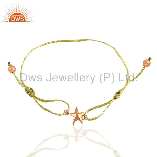 Rose gold plated 925 silver star charm yellow macrame unisex bracelet