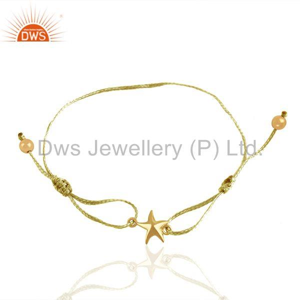 925 Sterling Silver Star Charm Yellow Macrame Bracelet Manufacturer