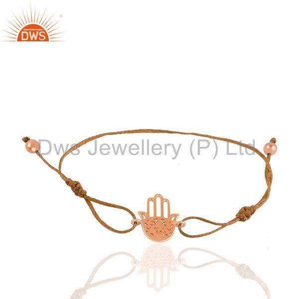 Rose Gold Plated 925 Silver Hamsa Hand Charm Bracelet Manufacturers