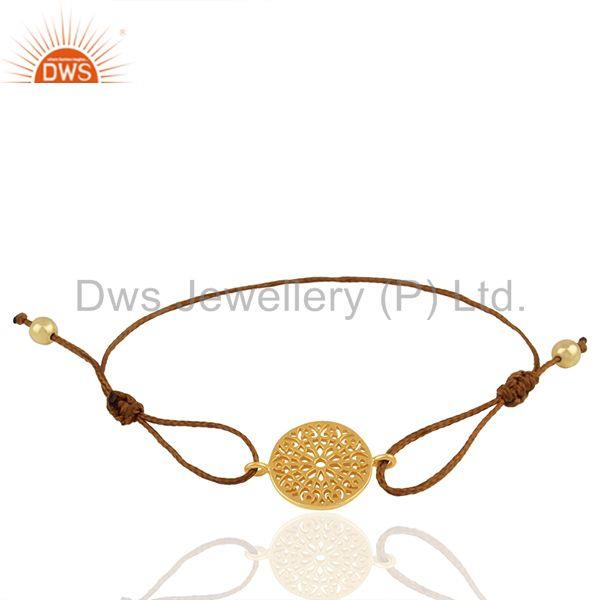 Brown Macrame Plain Silver Gold Plated Charm Bracelet Manufacturers