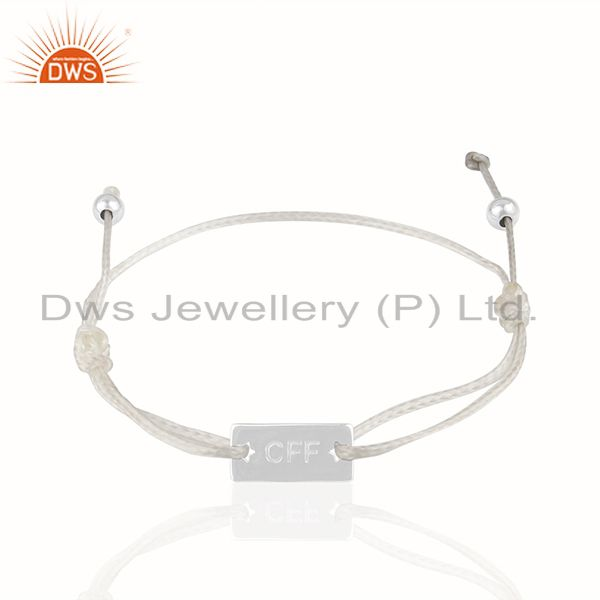 White cotton cord 925 silver customized bracelet manufacturer india