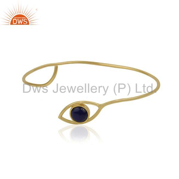 18k Gold Plated 925 Silver Lapis Gemstone Evil Eye Cuff Bracelet Wholesale
