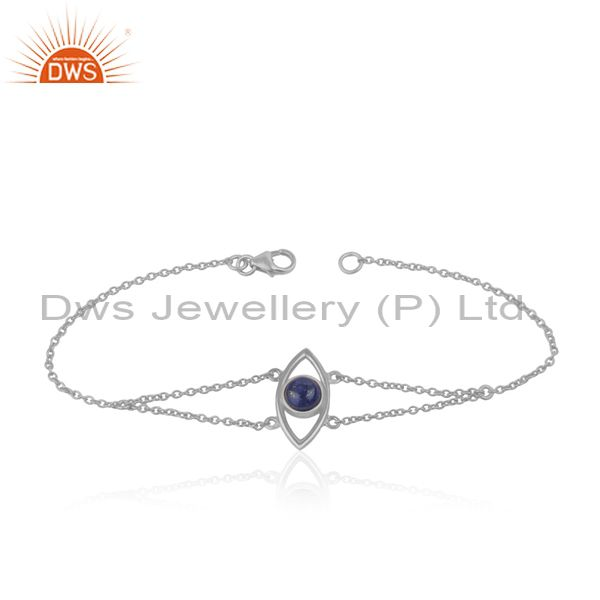 Designer Evil Eye Sterling Silver Chain Bracelet with Lapis