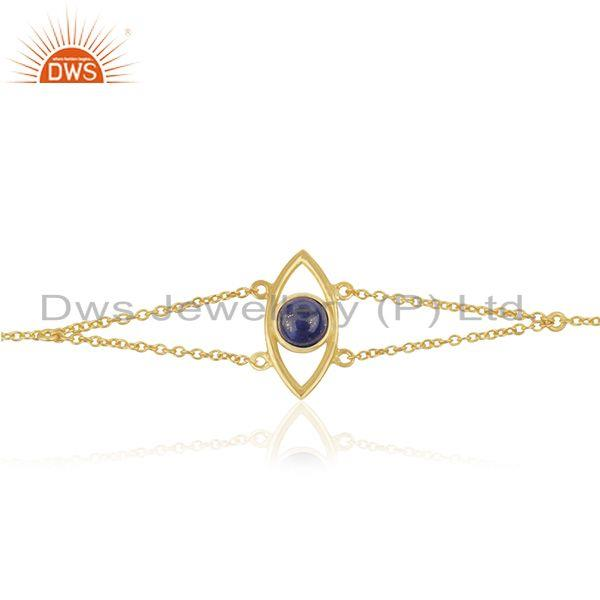 925 Silver Gold Plated Evil Eye Design Gemstone Chain Bracelet Wholesale