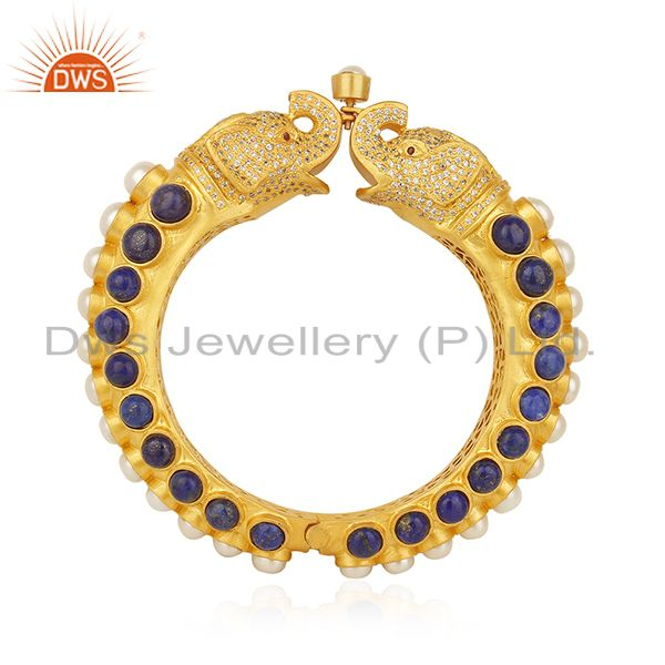 Elephant shape lapis lazuli solid 925 silver traditional bangle