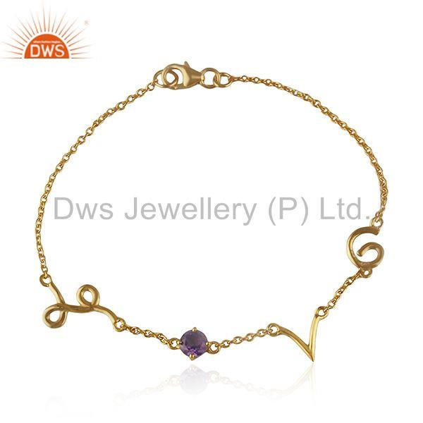 Love initial 92.5 silver amethyst birthstone christmas gift bracelet wholesale