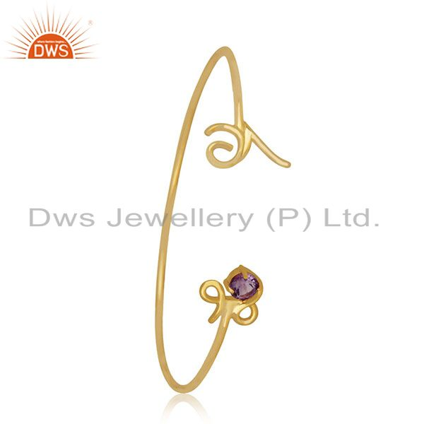 Private Label Love Initial Gold Plated 925 Silver Cuff Bracelet Manufacturer