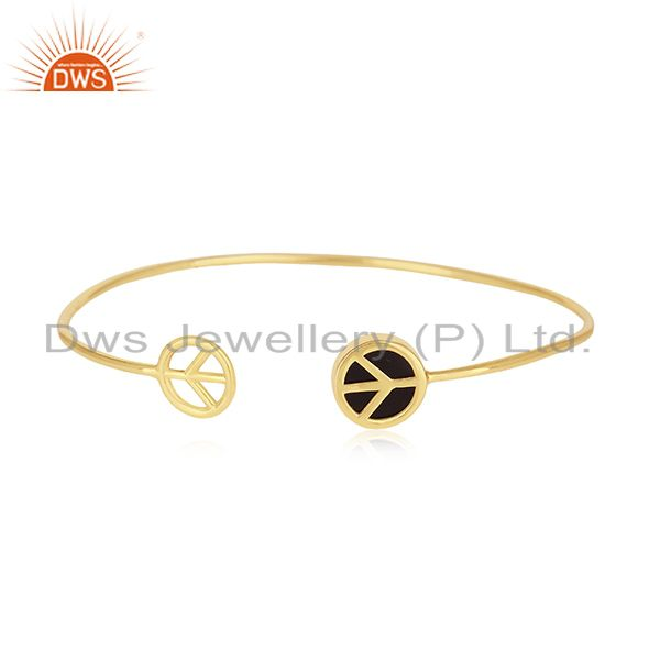 18k Gold Plated 925 Silver Onyx Gemstone Lucky Peace Sign Charm Cuff Bracelet