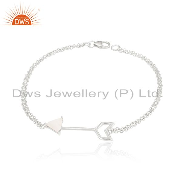 Custom Arrow Design Bracelet Manufacturer With 925 Silver Moonstone Jewelry