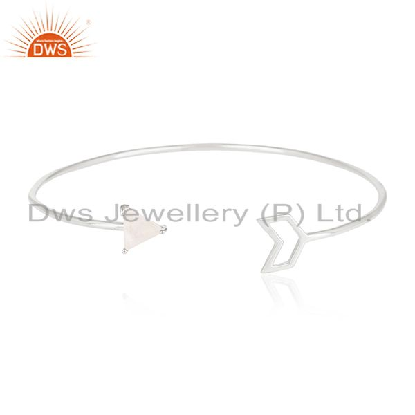 Private label arrow design moonstone sterling silver cuff bracelet manufacturers