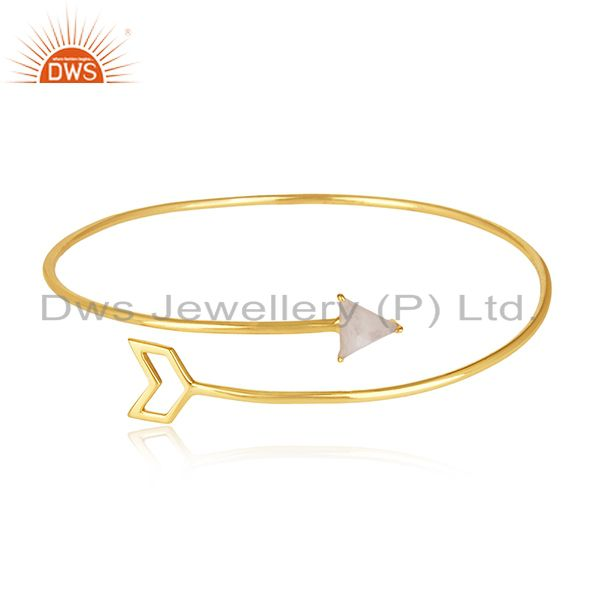 18k Gold Plated Sterling 92.5 Silver Arrow Design Cuff Bracelet Manufacturer