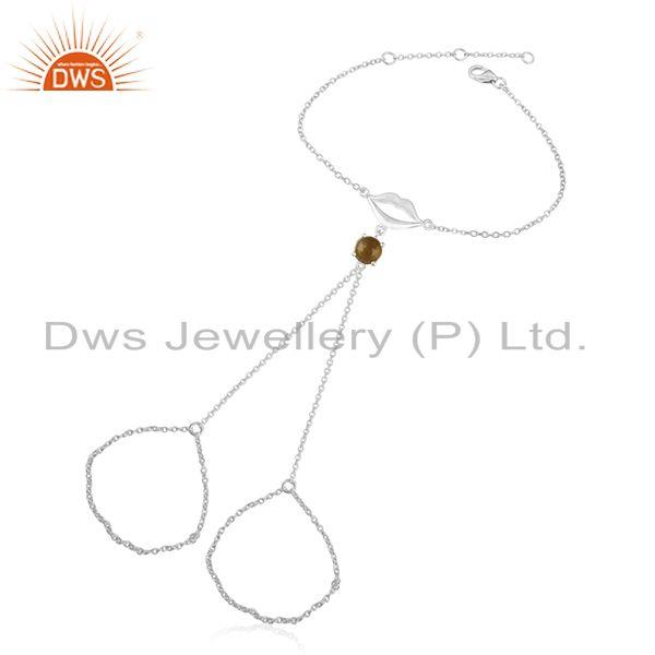 Citrine gemstone 925 sterling fine silver lip design chain bracelet wholesale
