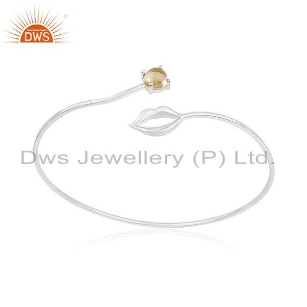 Lip design 925 silver natural citrine gemstone bangle manufacturer