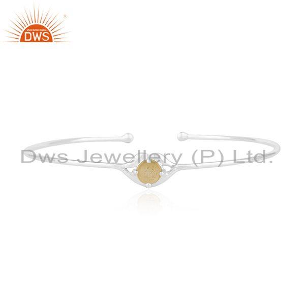Natural citrine gemstone 925 sterling fine silver cuff bracelet wholesale