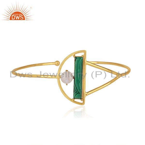 Malachite and Moonstone Gold Plated 925 Silver Half Moon Cuff Bangle Wholesale