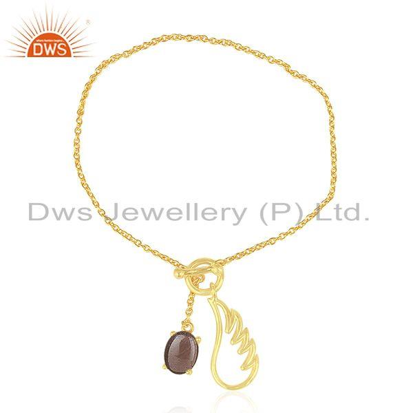 Gold Plated 925 Silver Angel Wing Lucky Charm Chain Bracelet Manufacturers