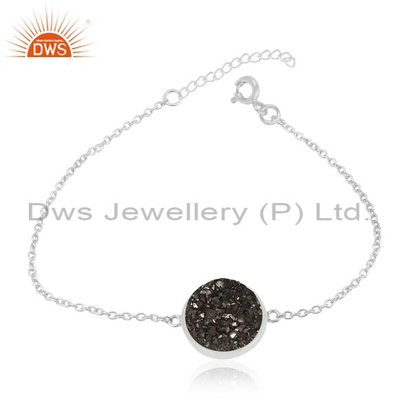 Black Druzy Solid 925 Sterling Fine Silver Chain Bracelet Wholesale Suppliers