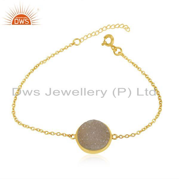 White Druzy Gold Plated 925 Sterling Silver Chain Bracelet Manufacturer