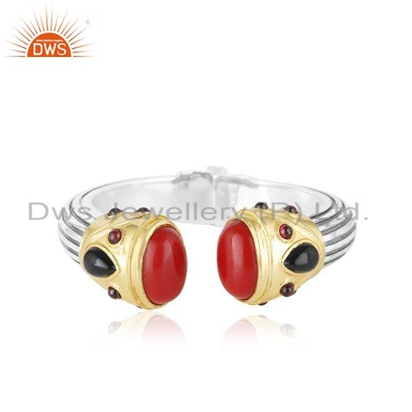 Natural Garnet Coral Gemstone Oxidized 92.5 Silver Kada Bangle Jewelry
