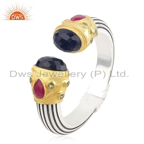 New Designer 925 Sterling Silver Multi Gemstone Cuff Bangle Manufacturer