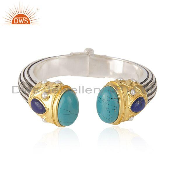 Multi Gemstone Gold and Oxidized 925 Silver Handmade Bangle Wholesaler