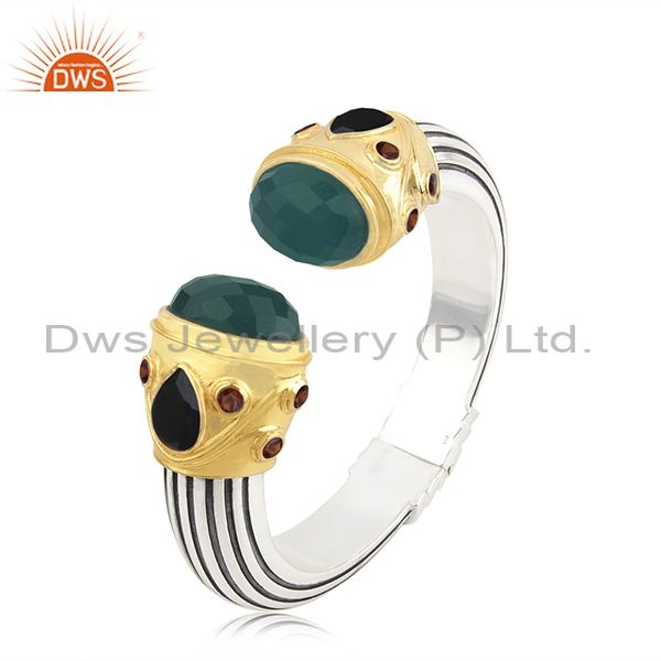 Handmade 925 Silver Gold Plated New Designer Multi Gemstone Cuff Bracelet