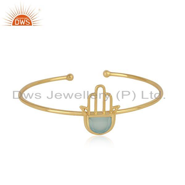 Designer Hamsa Cuff in Yellow Gold on Silver with Aqua Chalcedony