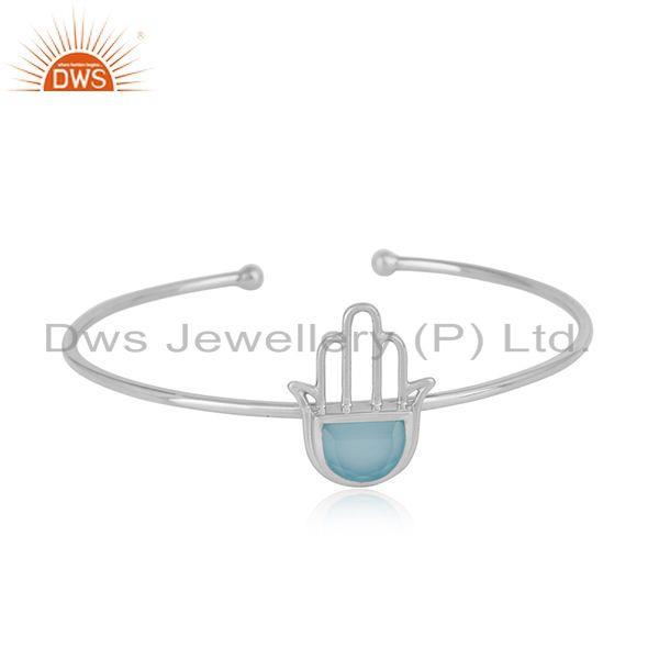 Designer hamsa hand cuff in sterling silver with blue chalcedony