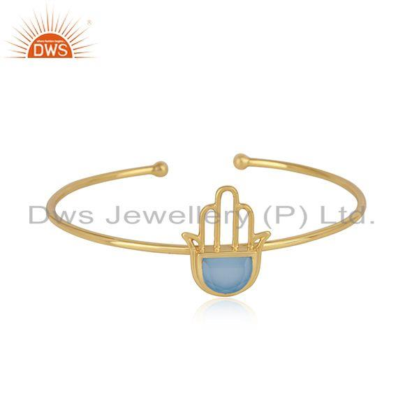 Designer Hamsa Cuff in Yellow Gold on Silver with Blue Chalcedony