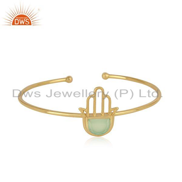 Designer Hamsa Cuff in Yellow Gold on Silver with Prehnite Chalcedony