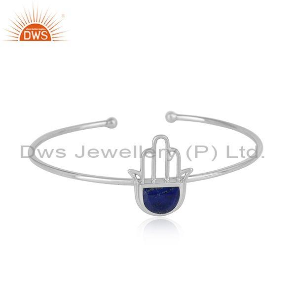 Designer Hamsa Hand Cuff in Sterling Silver 925 with Lapis