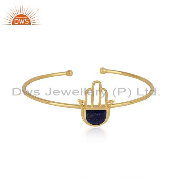 Designer Hamsa Hand Cuff in Yellow Gold on Silver 925 with Lapis