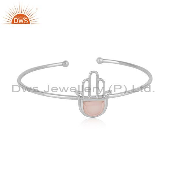 Designer hamsa hand cuff in sterling silver with rose chalcedony