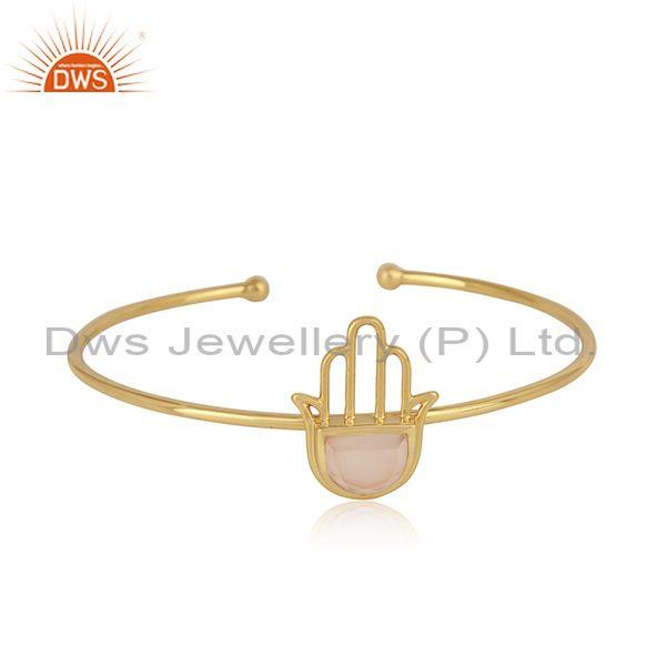 Designer Hamsa Cuff in Yellow Gold on Silver with Rose Chalcedony